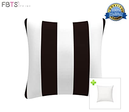 FBTS Prime Outdoor Decorative Pillows With Insert Black And White Stripe  Patio Accent Pillows Throw Covers