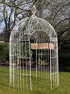 French Shabby Chic Cream Wrought Iron Metal Garden Fancy Decorative Arch  Gazebo