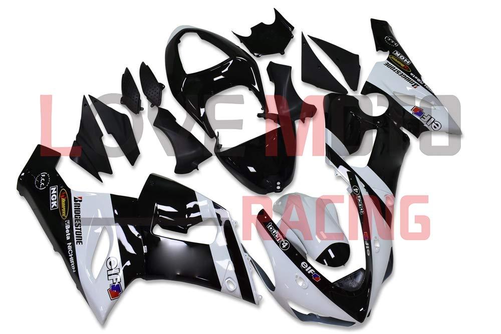 LoveMoto ブルー/イエローフェアリング カワサキ kawasaki ZX6R ZX-6R Ninja 636 2005 2006 05 06 ZX 6R Ninja ABS射出成型プラスチックオートバイフェアリングセットのキット ブラック グリーン   B07KQ4QJT7