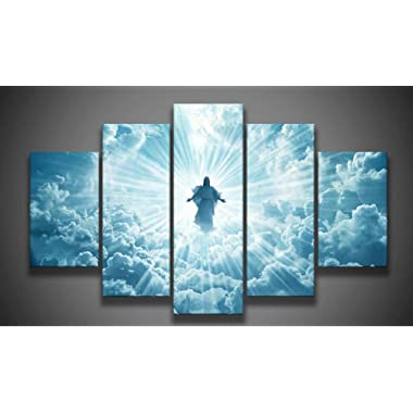 Print 5 pcs canvas wall art print Jesus is coming painting art picture home Decor Canvas Art Print Painting on canvas PT0762,large,framed