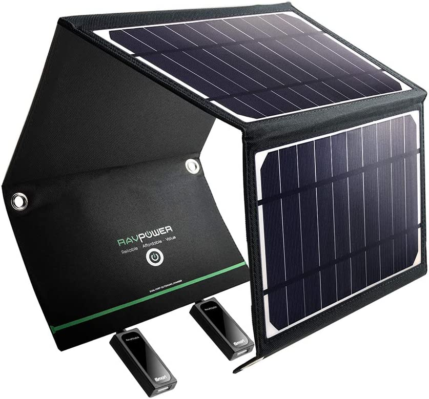 RAVPower Solar Charger 16W Solar Panel with Dual USB Port Waterproof Foldable Camping Travel Charger Compatible iPhone Xs XS Max XR X 8 7 Plus, iPad, ...