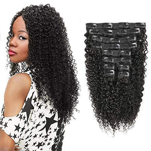 Kinky Curly Clip in Human Hair Extensions Natural Color Double Wefts For African American Women Full Head Wavy Hair Extension Clip Ins 12 inch 120Gram 10Pcs/Set Natural Black