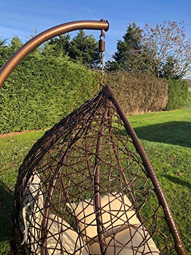 Marco Phillippe XL Patio Hanging Chair Garden Rattan Swing Seat Comfortable Cushion Relax Egg Chair