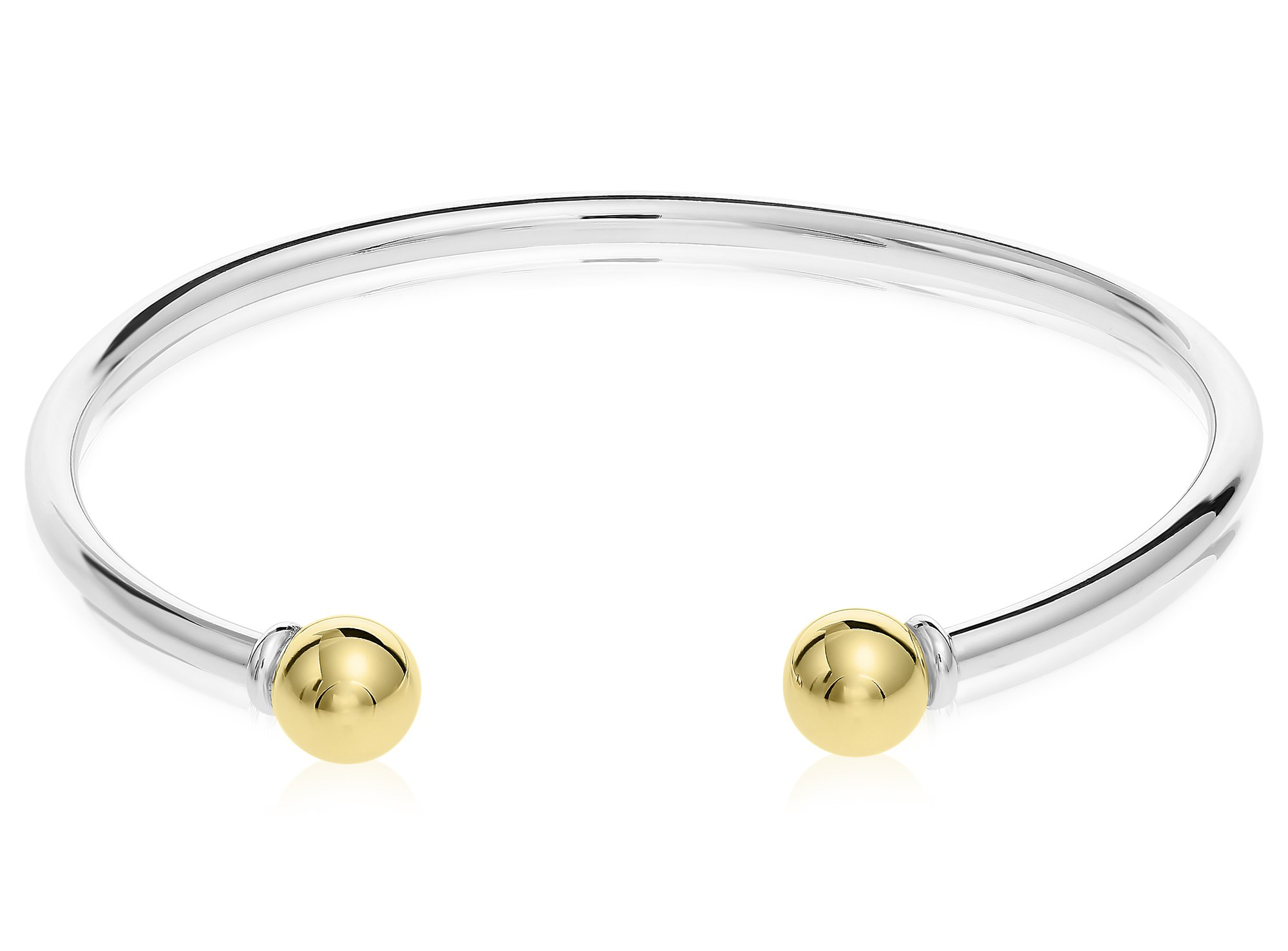 Unique royal jewelry Solid 925 Sterling Silver and 14k Gold 2-Ball Cuff Bracelet (Size 7) by Unique Royal Jewelry (Image #2)