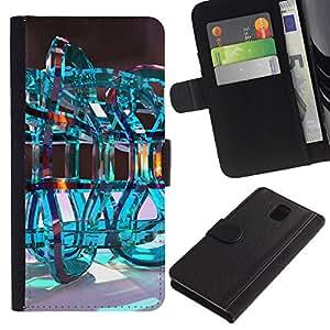WonderWall Fondo De Pantalla Imagen Diseño Cuero Voltear Ranura Tarjeta Funda Carcasa Cover Skin Case Tapa Para Samsung Galaxy Note 3 III N9000 N9002 N9005 - infinito bucle de la química del agua abstracta