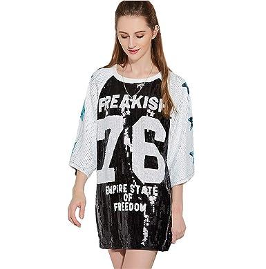 65e918da6 Christmas Costume Shirts Sequin Tops Baggy Sequin T Shirt for Teens Black