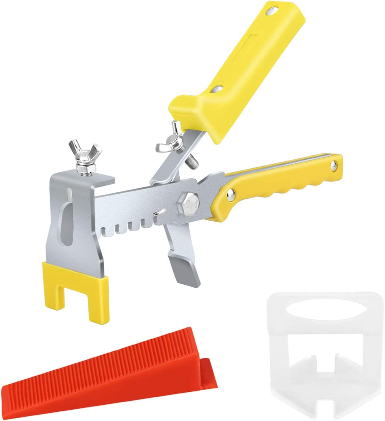 Premium Tile Leveling System with Push Pliers, 300PCS 1/16 Inch Leveler Spacers Clips & Reusable 100PCS Wedges, DIY Tile Tools Set for Floor & Wall Construction by Tanek - -