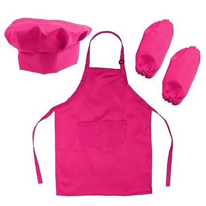 Come Fare Grembiuli Da Cucina Per Bambini.Ounona Set Cappello Grembiule Grembiule E Manicotto Da Cuoco E Pittura Per Bambini In Rosa