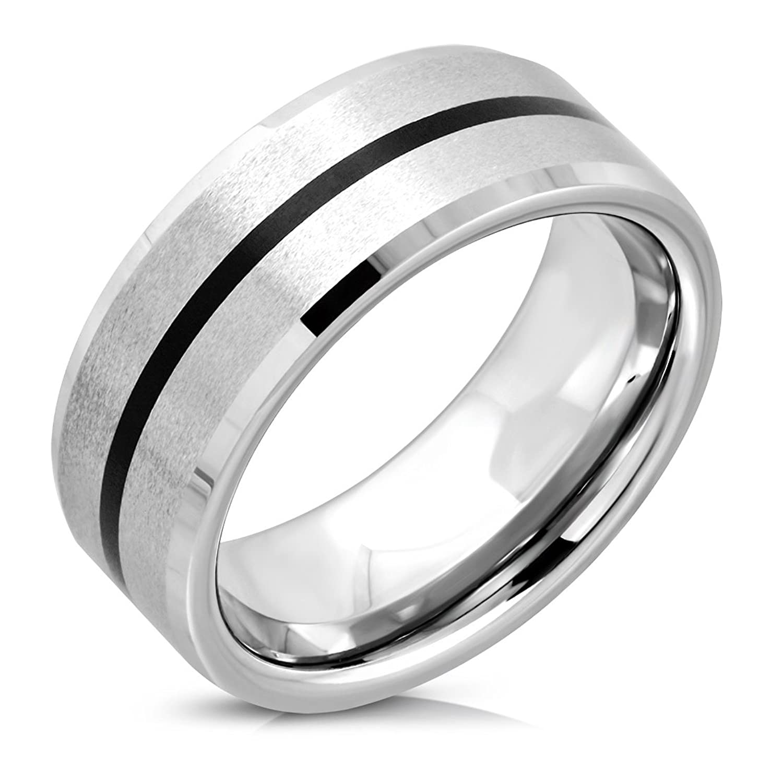 Tungsten Carbide Black Enameled Stripe Beveled Edge Comfort Fit Half-Round Band Ring