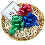 """Arts & Crafts : 12"""" Empty Gift Basket, Easy Gift Wrap Kit, 8-Piece Set w/ Reusable Basket to Fill, Cellophane Bag, Paper Shred, Twist Tie, 3 Pull Bows, Gift Tag; Birthday, Christmas, Easter, Etc (Blue and Green)"""