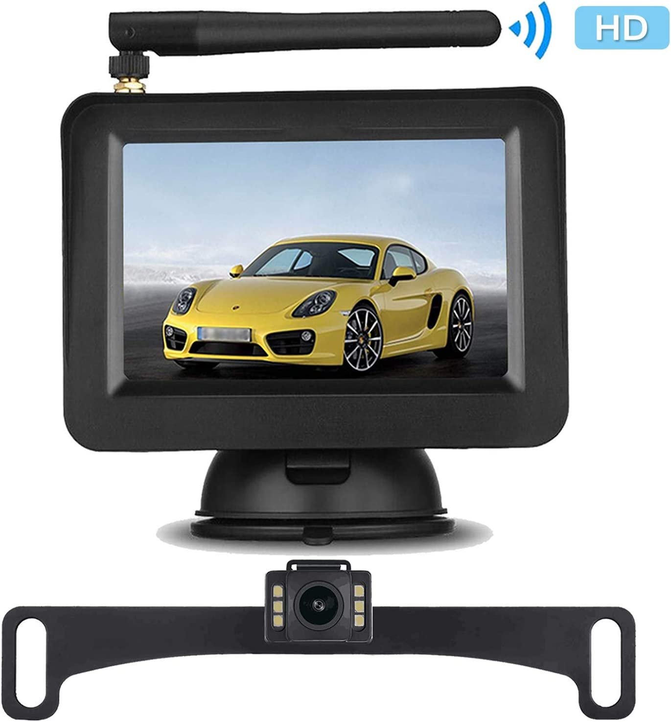 iStrong Backup Camera System for Car/SUV/Minivan with 4.3'' Monitor 7 White Light LED Night Vision Waterproof License Plate Camera with 9V-24V