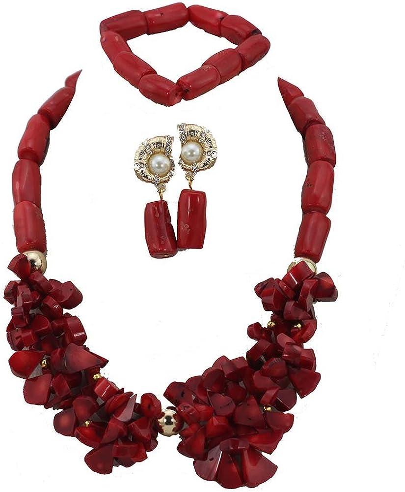 AfricanBeads 1fila Rojo Coral perlas joyas conjunto mujer joyas pulsera pendientes de regalo de Navidad