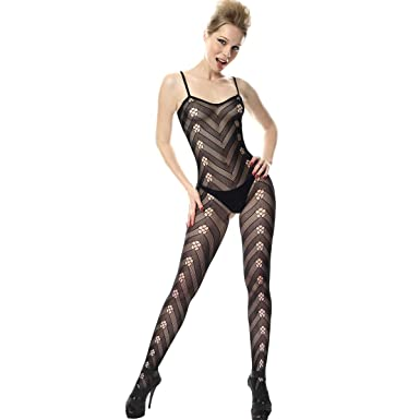 9cf27098a12 SpotLight Hosiery Women s Nylon Bodystocking with Floral and Chevron Pattern