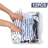 Hibag Premium Space Saver Bags, 20 Pack Vacuum Compression Bags (2Small, 6Medium, 5Large, 5Jumbo, 2Jumbo+) with 2 Free Roll Up Bags no Vacuum Needed and 1 Free Hand-Pump, PE, 12-Travel