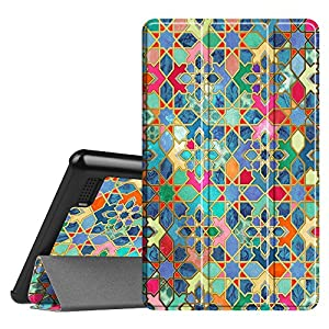 Fintie Slim Case for All-New Amazon Fire 7 Tablet (7th Generation, 2017 Release), Ultra Lightweight Slim Shell Standing Cover with Auto Wake / Sleep, Bohemian Ledge