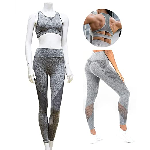 XYAIPR Ropa de Yoga, Mujer, Costura de Malla, Sujetador ...