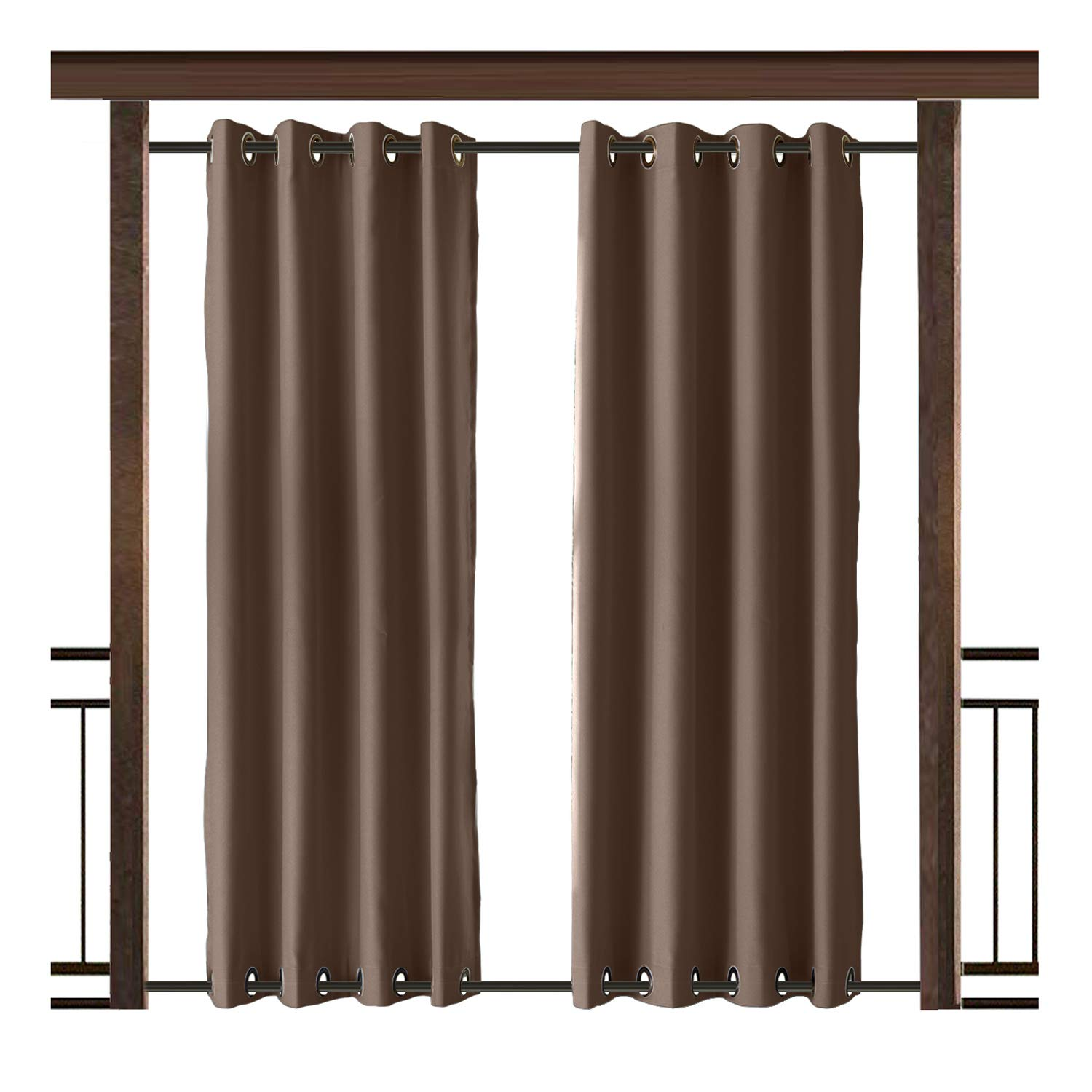TWOPAGES Outdoor Curtain Antique Bronze Grommet Waterproof Drape(Both Top and Bottom) Chocolate 100'' W x 96'' L (1 Panel)