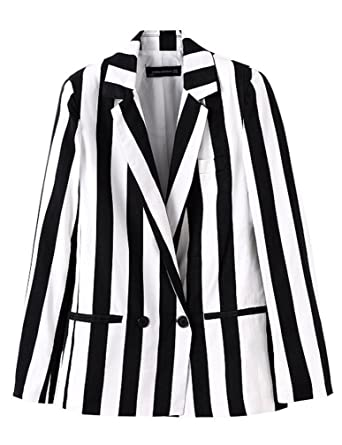 b7ce7c3697e4 Beetlejuice Costume Women Black and White Striped Leisure Blazers Jacket ( Black and White, L