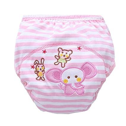 2 pcs a prueba de fugas bebés estudio pantalones Rosa tira patrón de dibujos animados Pañales