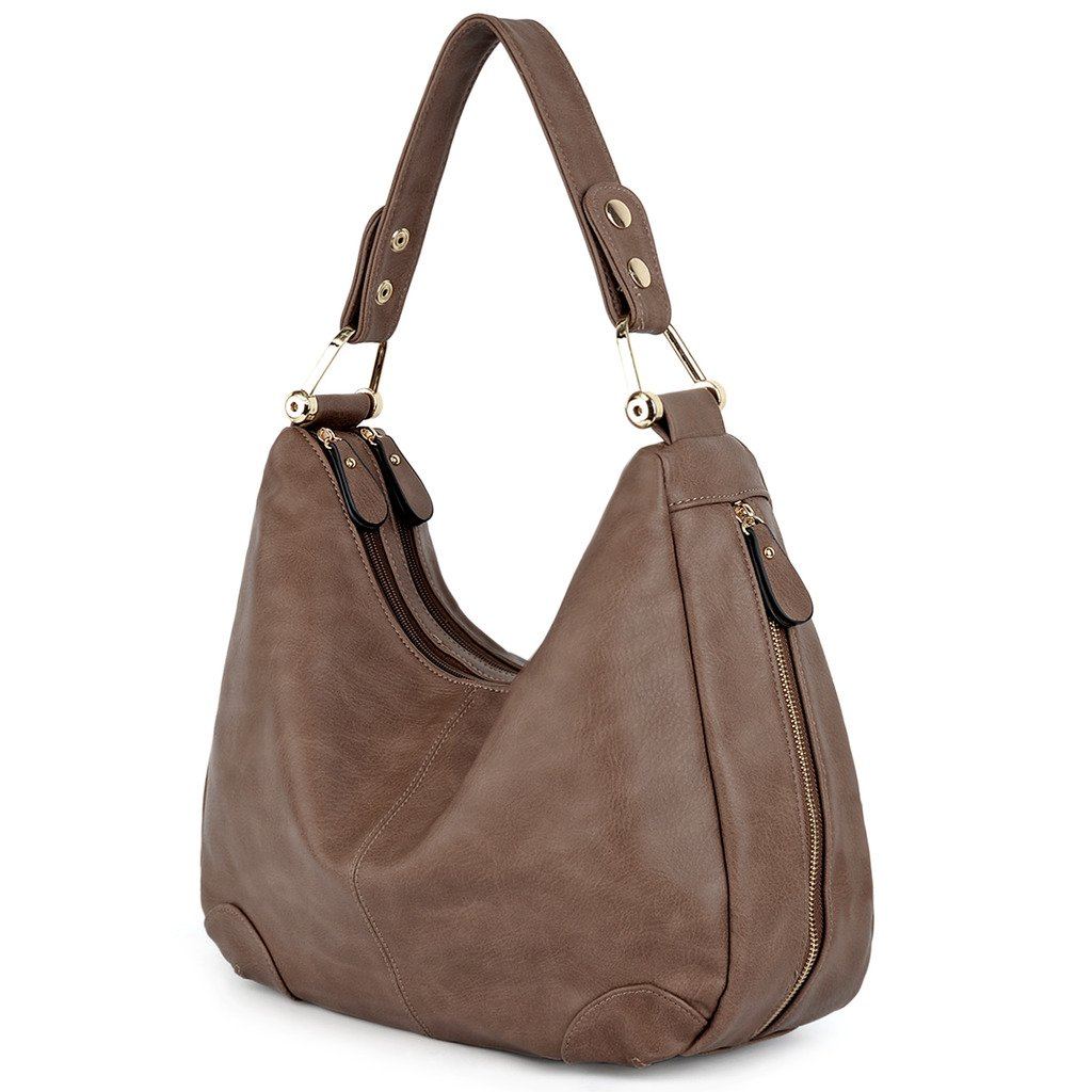 UTO Women Handbag PU Leather Purse Hobo Style Shoulder Bag Khaki