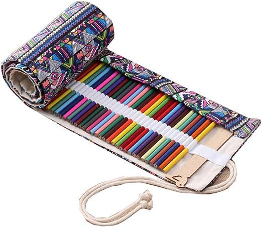 Estuche enrollable para lápices de colores y lápices de Wrap para 36/48/72, estuche para artistas, estuche multiusos para viajes/escuela 1 folk-custom 72 Löcher: Amazon.es: Hogar