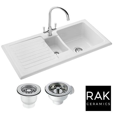 RAK Ceramics Rustic 1.5 Bowl White Ceramic Reversible Kitchen Sink ...