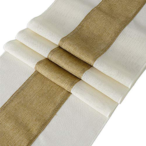 QueenDream 2 Pack Natural Burlap Table Runner 13x80 Inch Splicing Farmhouse Table Runner for Rustic Party Wedding Decorations
