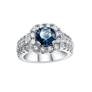 Womens Blue Zircon CZ Full Crystal Wedding Engagement Party Jewelry Ring US 6.7.8.9