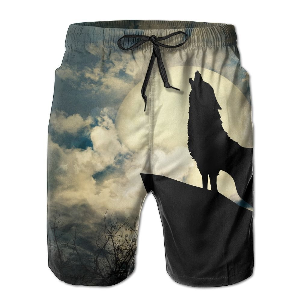 DS-co Full Moon Wolf Roar Mens Summer Beach Quick-Dry Surf Swim Trunks Boardshorts Cargo Pants