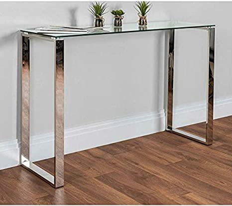 Living Room Furniture Sofa Table 36 W Napoli Modern Rectangular Console Table with Templated Glass Top /& Chrome Stainless Steel Legs