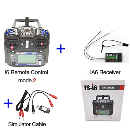 Flysky FS-i6 AFHDS 6CH 2 4GHz Radio System RC Transmitter Controller with  FS-iA6 Receiver 22in1 RC USB Flight Simulator Cables for RC Helicopter  Plane