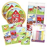 Farm Barn Animals Party Birthday Tableware Deluxe Bundle Plates Napkins Serves 16