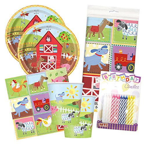 Farm Barn Animals Party Birthday Tableware Deluxe Bundle Plates Napkins Serves 16 by Lobyn Value Packs