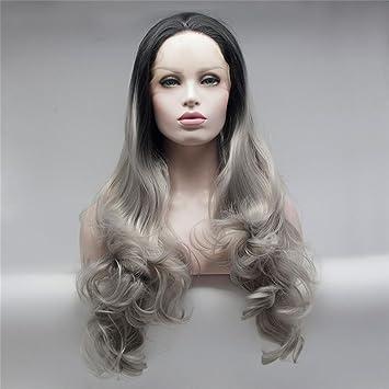 OOARGE Sintético Peluca Onda larga Color gris degradado Cosplay Señoras Peluca Fiesta Gorra de peluca gratis