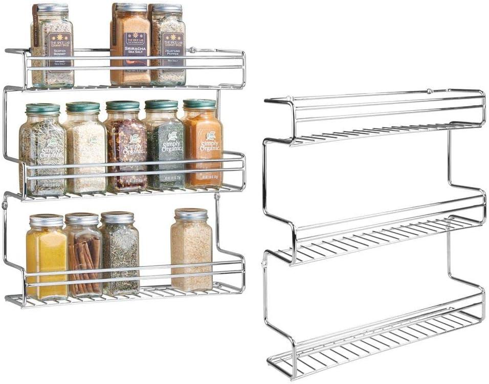 mDesign especiero con 3 niveles - Estante para especias idóneo como organizador de condimentos o salsas - De metal cromado - Paquete de 2: Amazon.es: Hogar