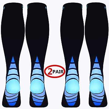Calcetines/Medias de compresión para Hombres y Mujeres, (2 Pares) Mejor circulación