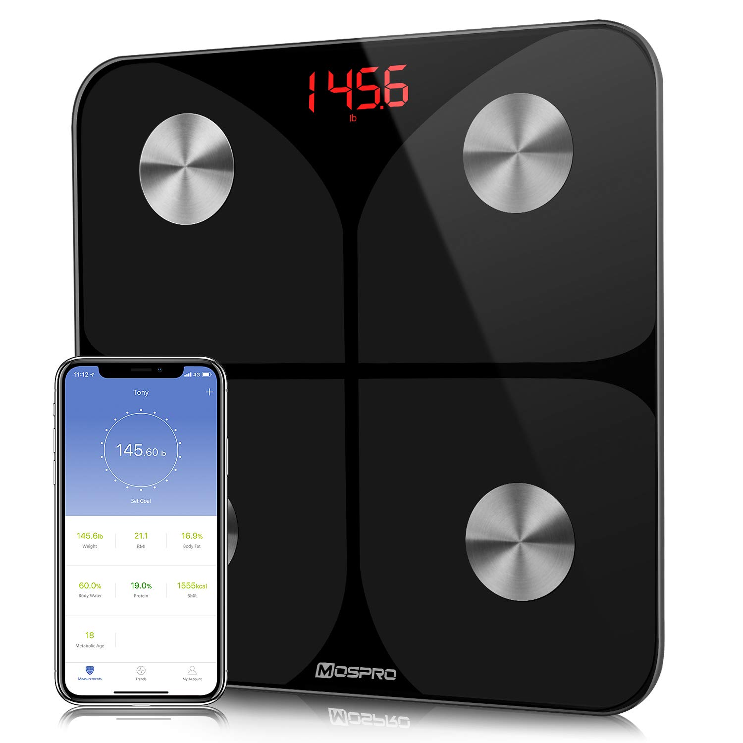 Smart Body Fat Weight Scale - Digital Bathroom BMI Scale High Precision Wireless Body Composition Analyzer Health Monitor with iOS & Android App for Body Weight Fat Water Bmr & More by MOSPRO