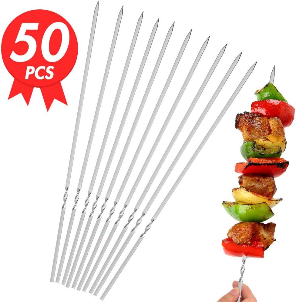 "Flat Metal BBQ Barbecue Skewer, 14"" Stainless Steel Shish Kebob Sticks50PCS Flat Stainless Steel BBQ Set, for Meat Shrimp Chicken Vegetable Wide Reusable"