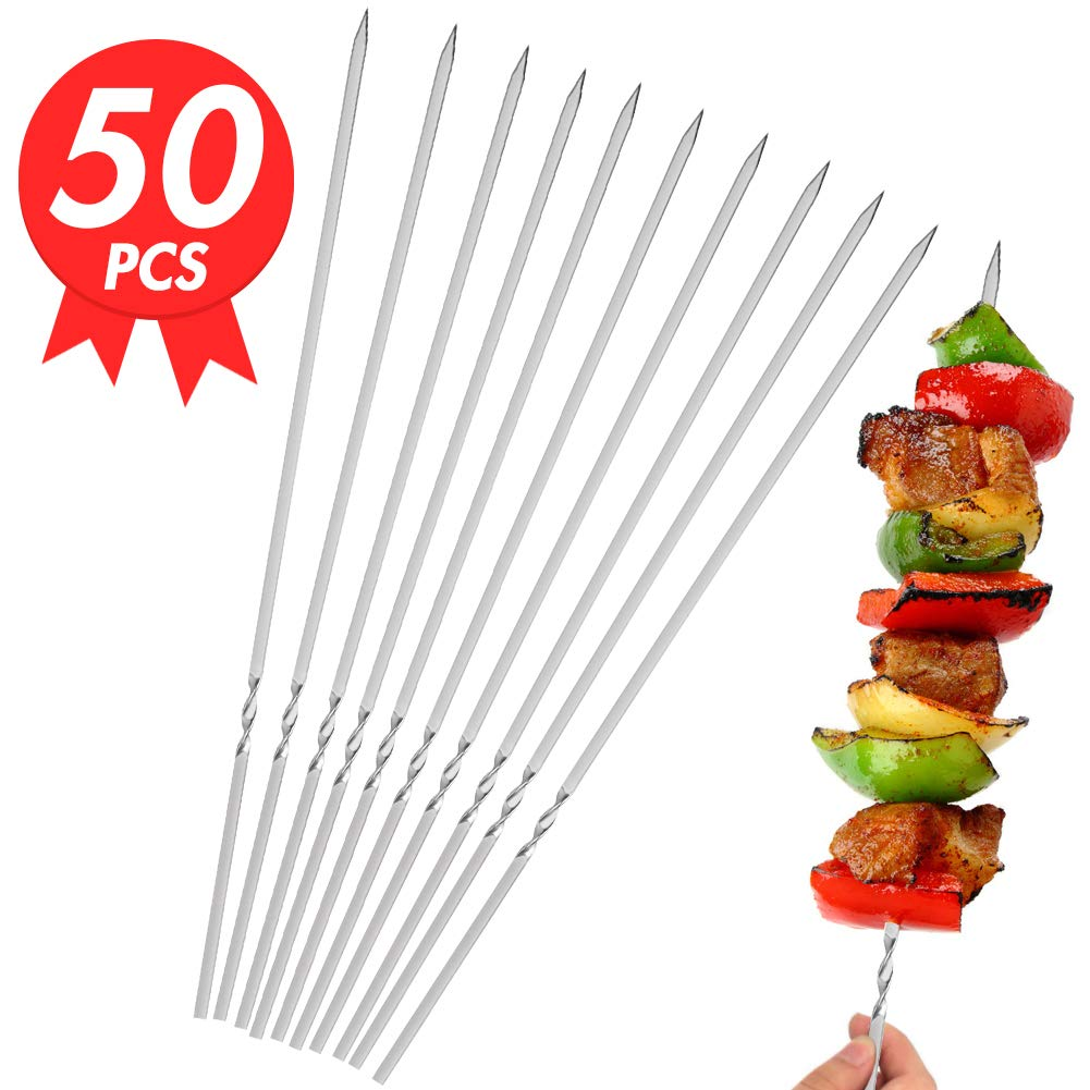 Johouse Barbecue Skewers, 50 PCS Stainless Steel Barbecue Skewer BBQ Stick Needles Outdoor Camping Outings Cooking Tools