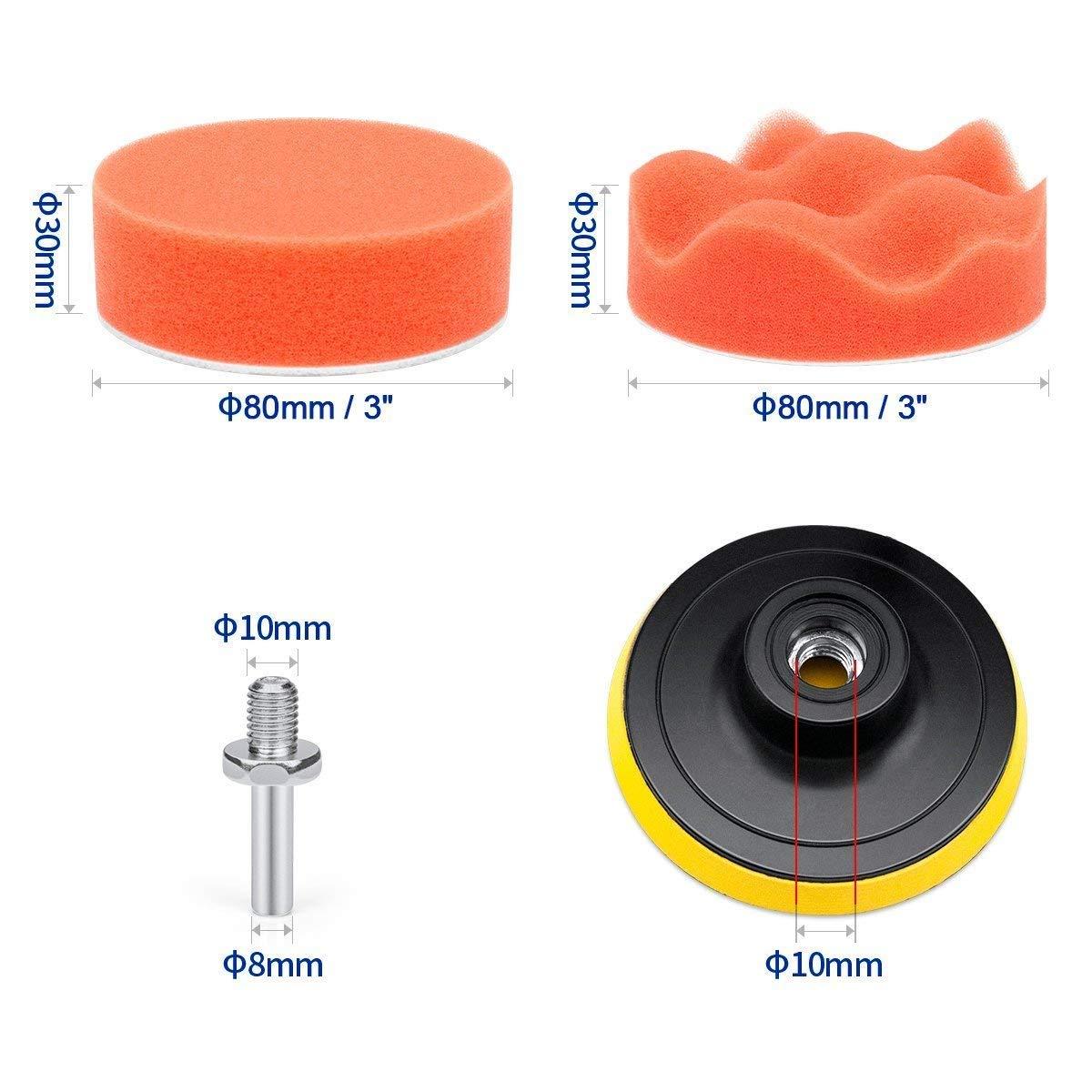 QFUN Polishing Sponge Car 25 Pieces 3 Inch Polishing Pad Set Wool Polishing Pad Polishing Pad for Polishing Machine Polishing Pad Drill M10 Drill and Wool Polishing Paste for Polishing Pad