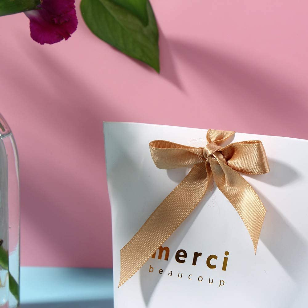 confezione da 20 pezzi Sacchetti regalo in carta kraft con scrittaMerci con nastro Small Marrone
