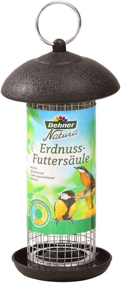Dehner Natura - Columna de alimentación para pájaros Silvestres, para Cacahuetes y pasas, Aprox. 20 x 13 x 13 cm, Metal, Color Negro