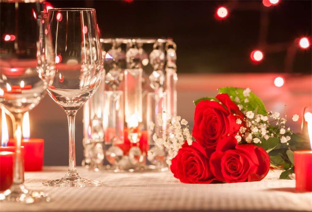 Yeele 6x4フィート ロマンティックキャンドル ライトディナー背景 写真撮影用 ワインローズフラワー背景 バレンタインデー 日付 結婚記念日 婚約 恋人 カップル写真撮影小道具   B07L86NMJS