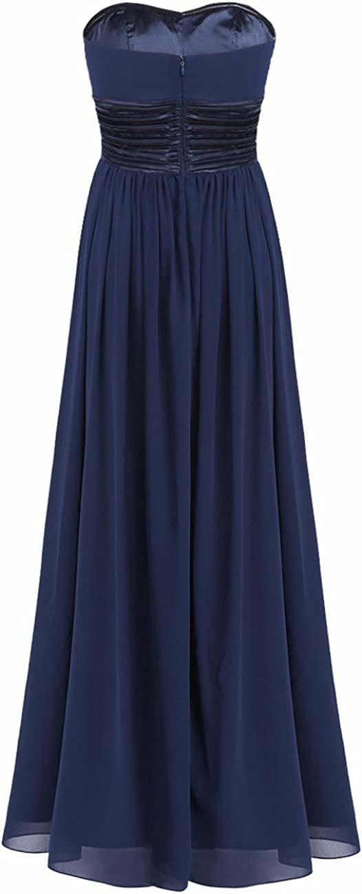 iEFiEL Womens Strapless Ruched Bust Bridesmaid Chiffon Dress Long Evening Gown