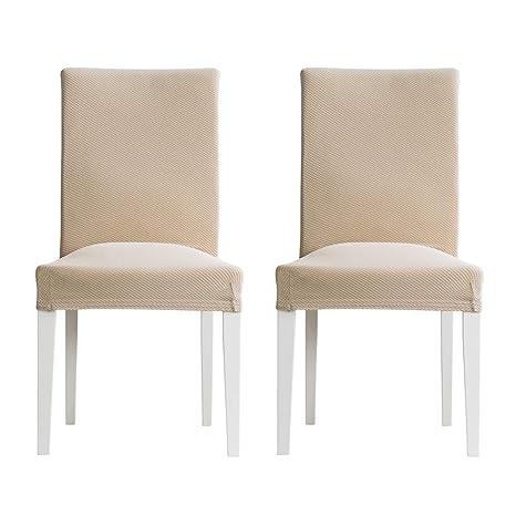 MIULEE Pack de 2 Fundas para Sillas Gránulos Comedor Fundas Elásticas Modernas bielástico Extraíbles y Lavables Funda Cubiertas para sillas Beige