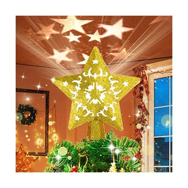 Sulida Luce superiore dell'albero di Natale, stella brillante cava 3D, decorazione per albero di Natale, albero di Natale, proiettore di stella girevole LED luci (oro) 1 spesavip