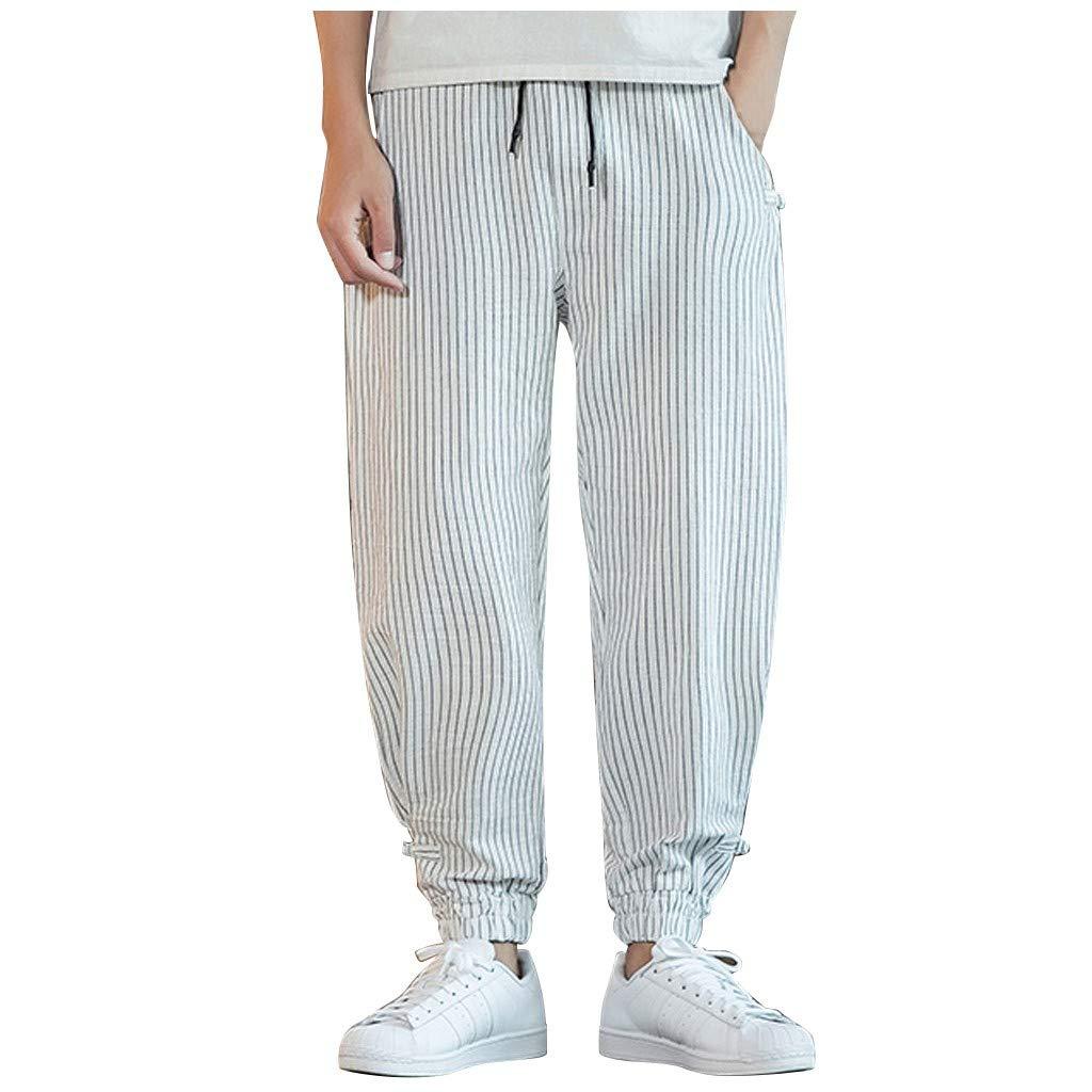 FEDULK Men's Harem Pant Striped Print Comfortable Fit Beam Legging Plus Size Trouser(White, XXXX-Large) by FEDULK