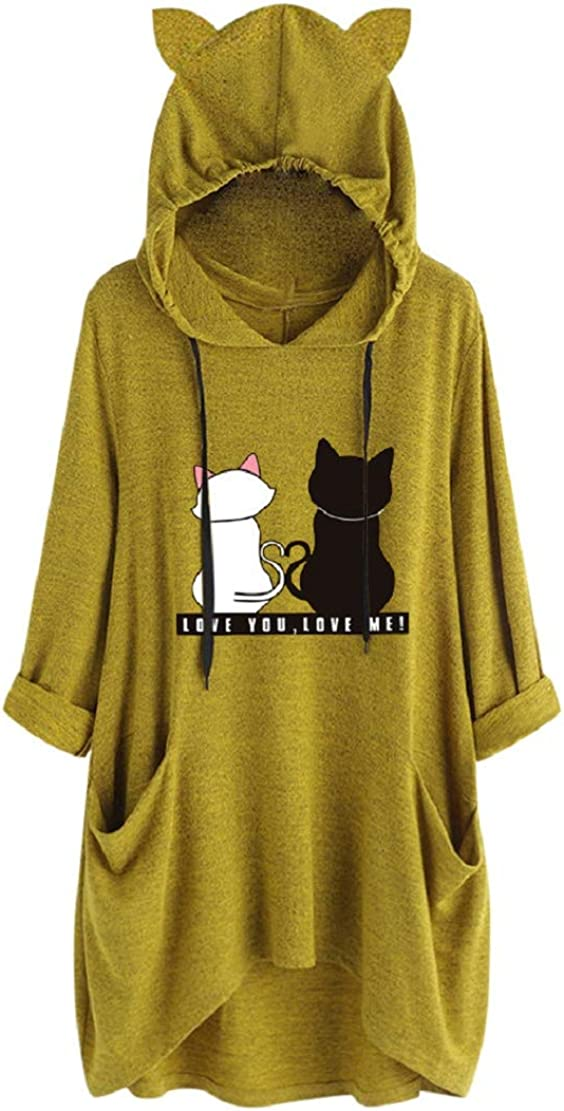 Plus Size Womens Fashion Cat Ear Graphic Pullover Sweatshirt Hooded Cowl Neck Drawstring Tops with Pockets Sopzxclim