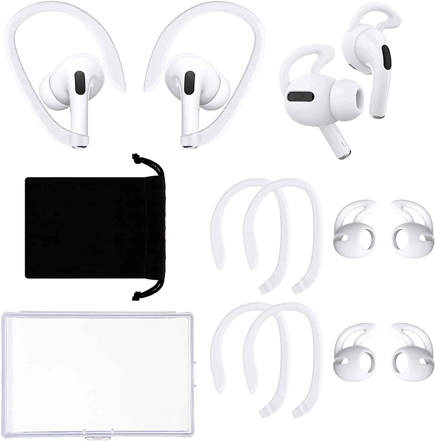 4 Pairs Ear Hooks Compatible with Apple AirPods Pro, Anti-Slip Anti-Drop Ear Covers AirPods Accessories for Running, Cycling and Other Indoor-Outdoor Activities (White)