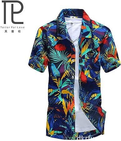 TAOHOU Camisa Hawaiana para Hombre Camisas Playeras Estampadas de Secado rápido Camisa Suelta de Manga Corta Azul: Amazon.es: Hogar